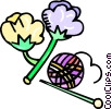 cotton and knitting needles Vector Clipart illustration