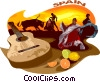 Vector Clipart illustration  of a Spain postcard design