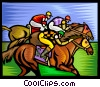 Vector Clip Art picture  of a Horse racing