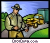 Vector Clip Art image  of a police office giving a ticket