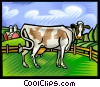 Vector Clip Art image  of a Cow grazing