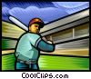 Vector Clipart graphic  of a Baseball player practicing his