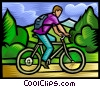 Vector Clip Art picture  of a Boy going for a bike ride