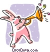 Easter bunny playing a trumpet Vector Clipart illustration