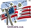 Vector Clip Art image  of an American flags