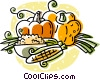 Vector Clip Art graphic  of a Fall harvest