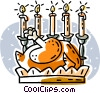 roast turkey with candles Vector Clipart illustration