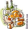Roast turkey with bottles of wine Vector Clipart illustration