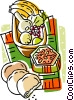 baskets of fruit Vector Clip Art picture