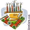 Vector Clipart graphic  of a candle center piece