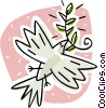 Vector Clip Art image  of a dove with an olive branch in its mouth