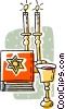 Vector Clipart picture  of a communion cup with candles