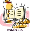 communion cup and bread Vector Clipart image