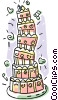 Vector Clip Art graphic  of a Wedding cakes