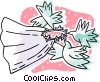 Vector Clipart illustration  of a Wedding vale being carried by