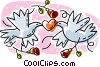 Vector Clipart illustration  of a doves with a heart in their