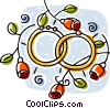 Wedding rings joined surrounded by roses Vector Clip Art image