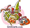 Vector Clip Art image  of a elf with presents