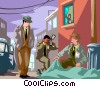 Vector Clip Art graphic  of a detectives looking at a crime