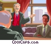 Vector Clipart graphic  of a lawyers meeting in the judges