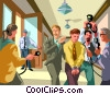 person being lead from court with his lawyer Vector Clip Art picture
