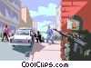 Vector Clip Art graphic  of a criminal with a hostage in a
