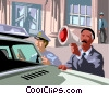 cops in a stand off Vector Clipart image