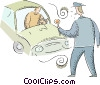 Vector Clip Art graphic  of a police officer stopping a car
