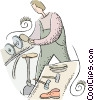cobbler making shoes Vector Clipart picture