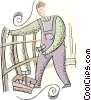 Vector Clip Art picture  of a farmer fixing a picket fence