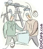 Vector Clipart illustration  of a men working in the oil fields