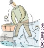 Vector Clipart picture  of a fisherman with fishing net
