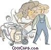 farmer with the milking machine Vector Clip Art graphic