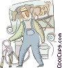 Vector Clip Art graphic  of a farmer milking the cows