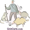 Shepard with sheep Vector Clip Art image