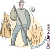 Vector Clipart graphic  of a farmer harvesting the crops