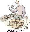 farmer weaving a basket Vector Clip Art graphic