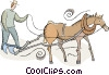 Vector Clip Art image  of a farmer plowing the fields