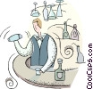 Vector Clipart illustration  of a bartender mixing a drink