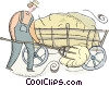 farmer putting hay in the wagon Vector Clipart illustration