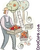 Vector Clip Art image  of a farmer working in the orchard