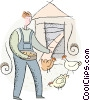 Vector Clipart picture  of a farmer feeding the chickens