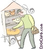 Vector Clipart graphic  of a farmer collecting eggs