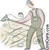 Vector Clip Art image  of a farmer working in the fields
