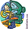 Vector Clipart graphic  of a cobbler making boots