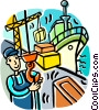 Vector Clip Art image  of a man working on the docks