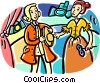 Vector Clip Art image  of a Two actors on stage