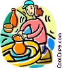 woman making pottery Vector Clipart graphic