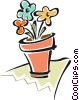 Vector Clip Art graphic  of a flower pot with flowers