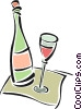 Vector Clip Art picture  of a wine bottle and glass